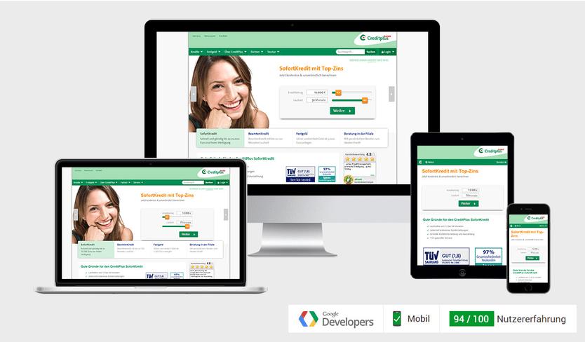 Responsive Webdesign - CreditPlus Bank AG